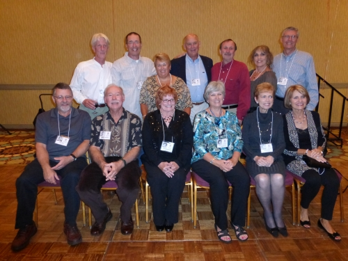 Classmates at 50th reunion who went to Longfellow elementary school.  Seated from left to right Tim Rich, Buddy Hamilton