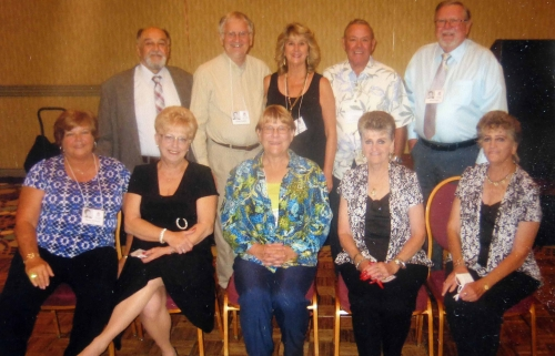 Classmates who went to Ben Franklin Elementary School. First row left to right:  Nancy Whitlock, Lois Bishop. Wilma Catl